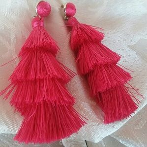 Awesome Bright Pink Tassel Earrings